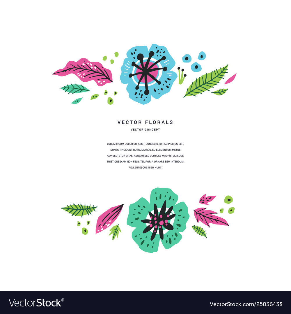 Floral flat hand drawn poster template