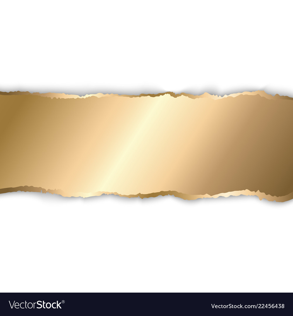 Gold and white torn paper template background