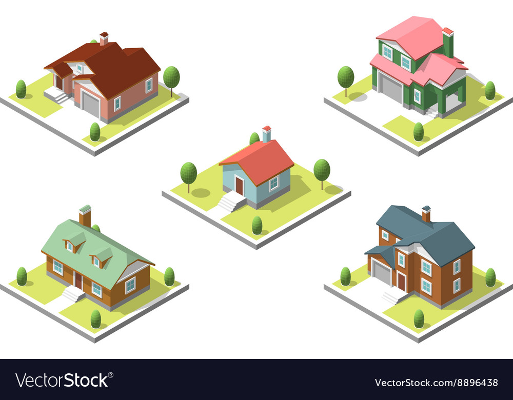 Isometric buildings set Flat style