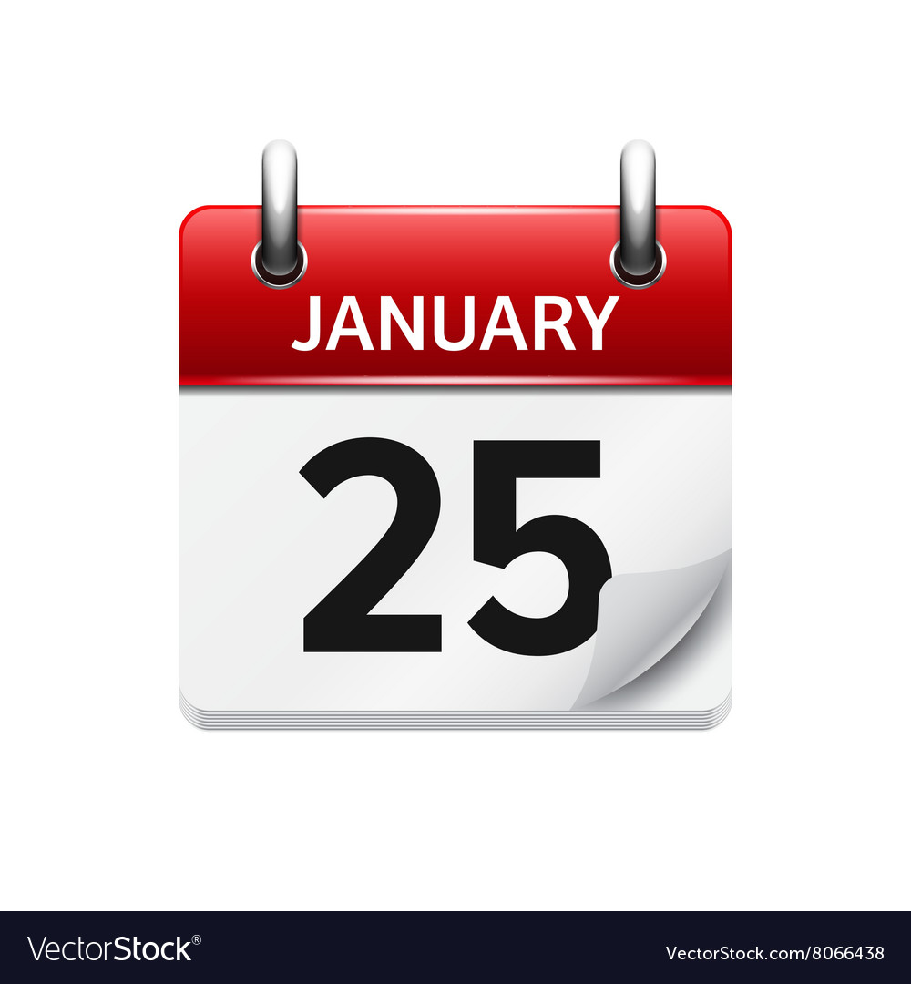 January 25 flat daily calendar icon Date vector image