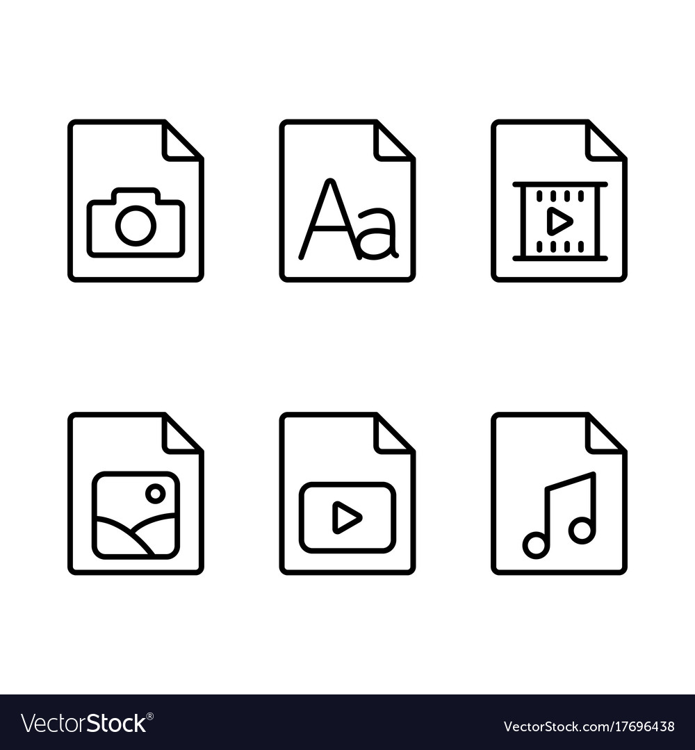 Line multimedia various type document icons