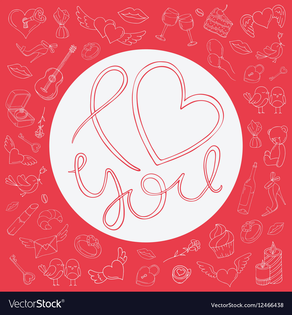 Love circle frame with icons for Valentines day vector image