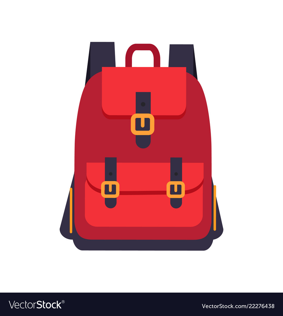 Red backpack with black slings colorful banner