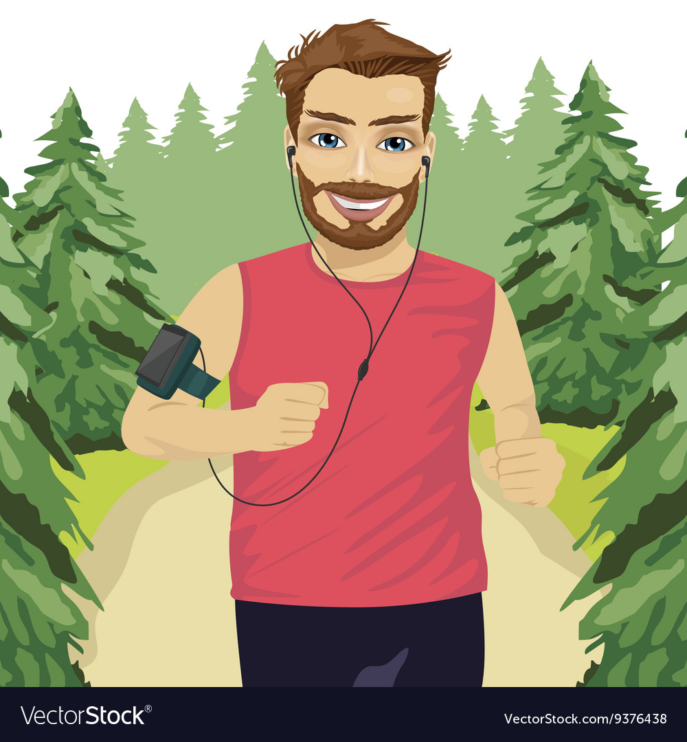Runner man jogging in park with smartphone armband vector image