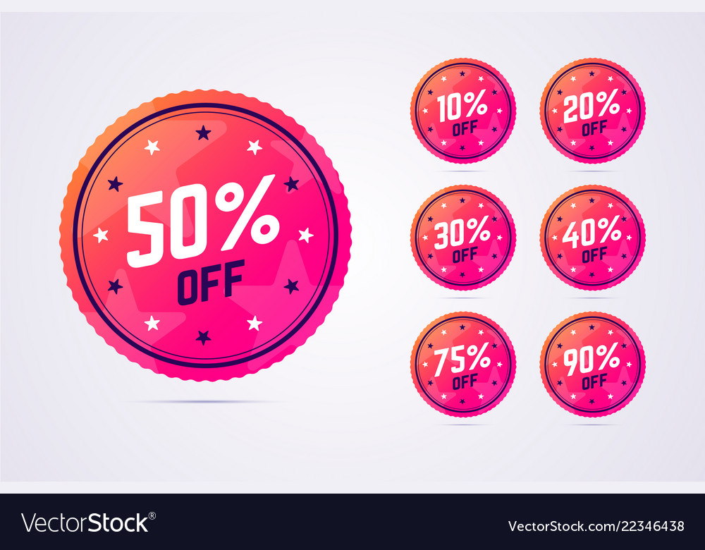 Set of sale badges in modern gradient style