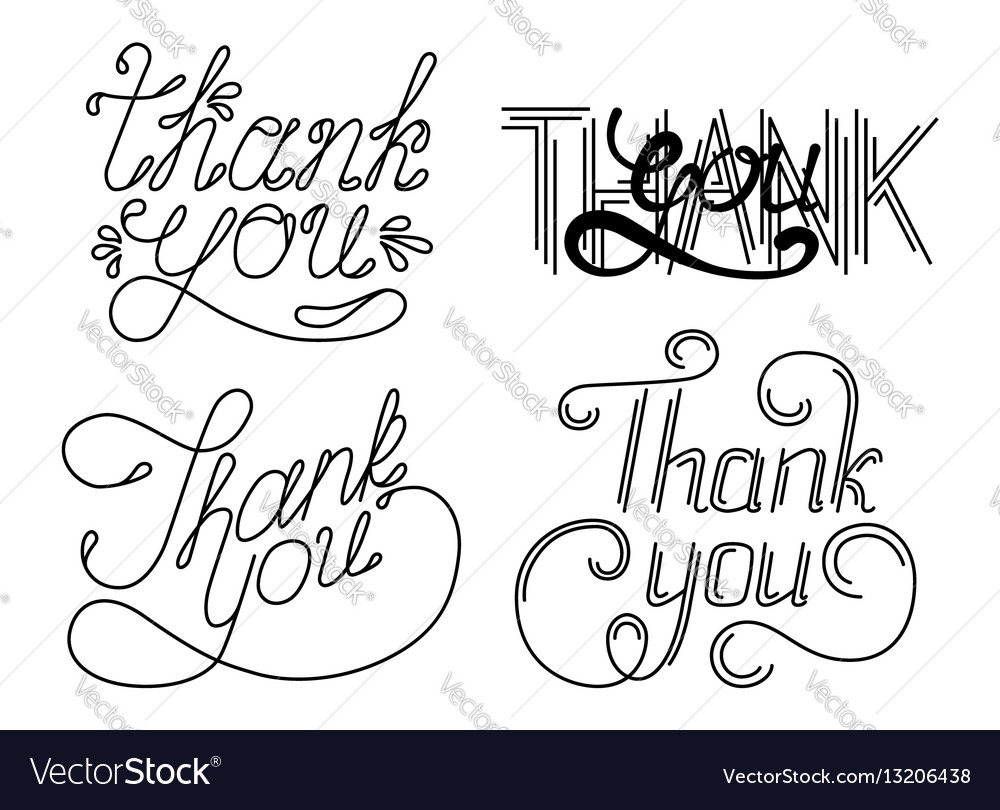 Set of thank you hand lettering phrases