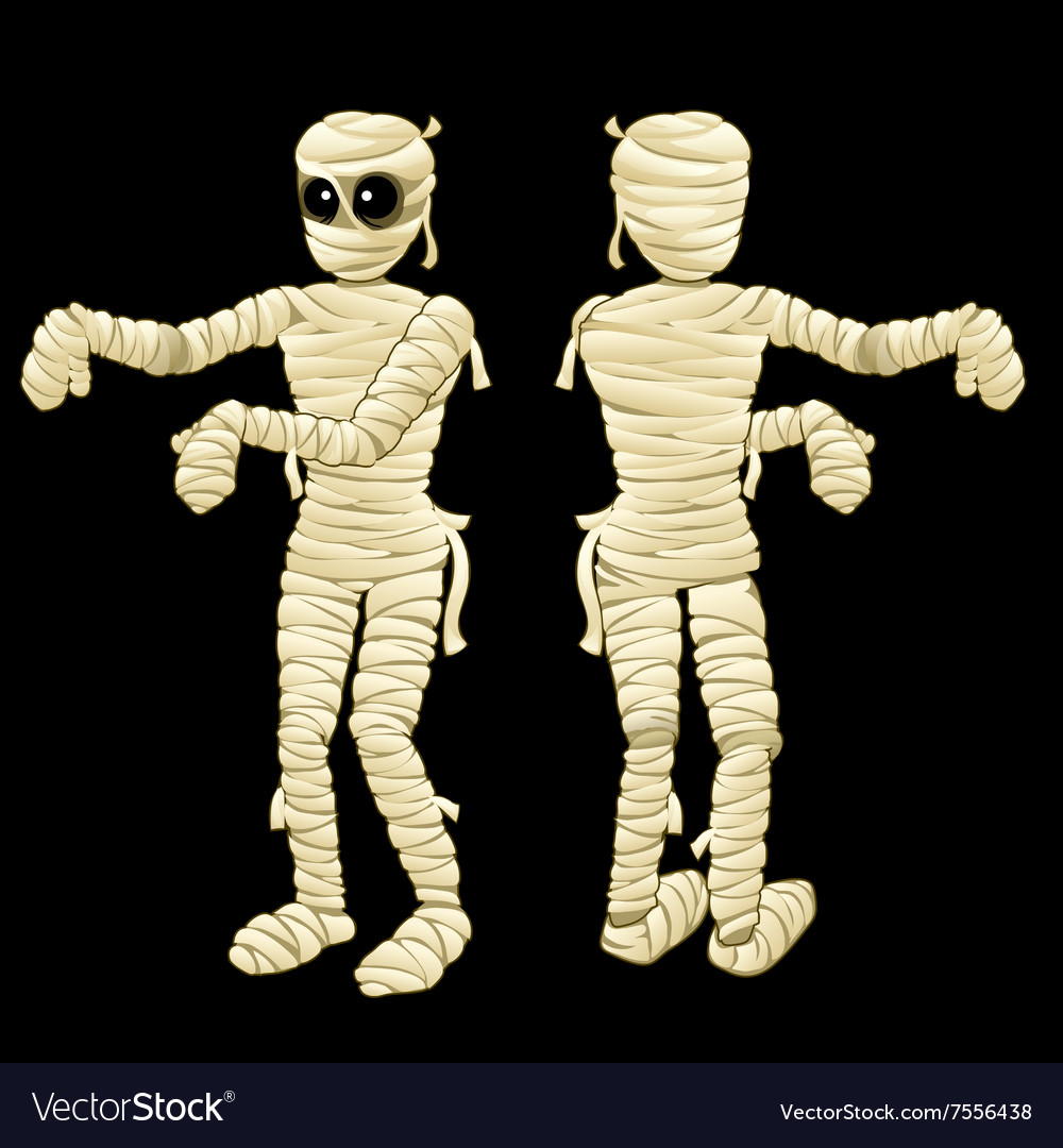 Two cute mummy with hands on a black background
