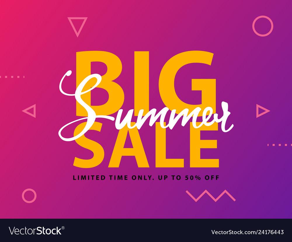 Big summer sale sign with ultraviolet background