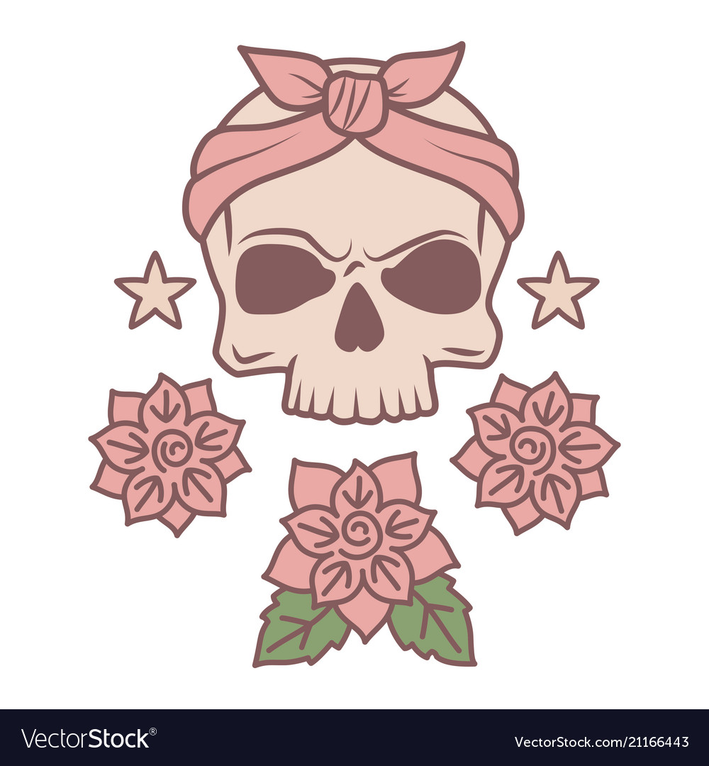 Cute skull and flowers tattoo template