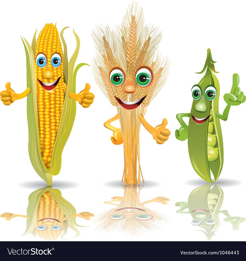 Funny vegetables corn ears of corn peas