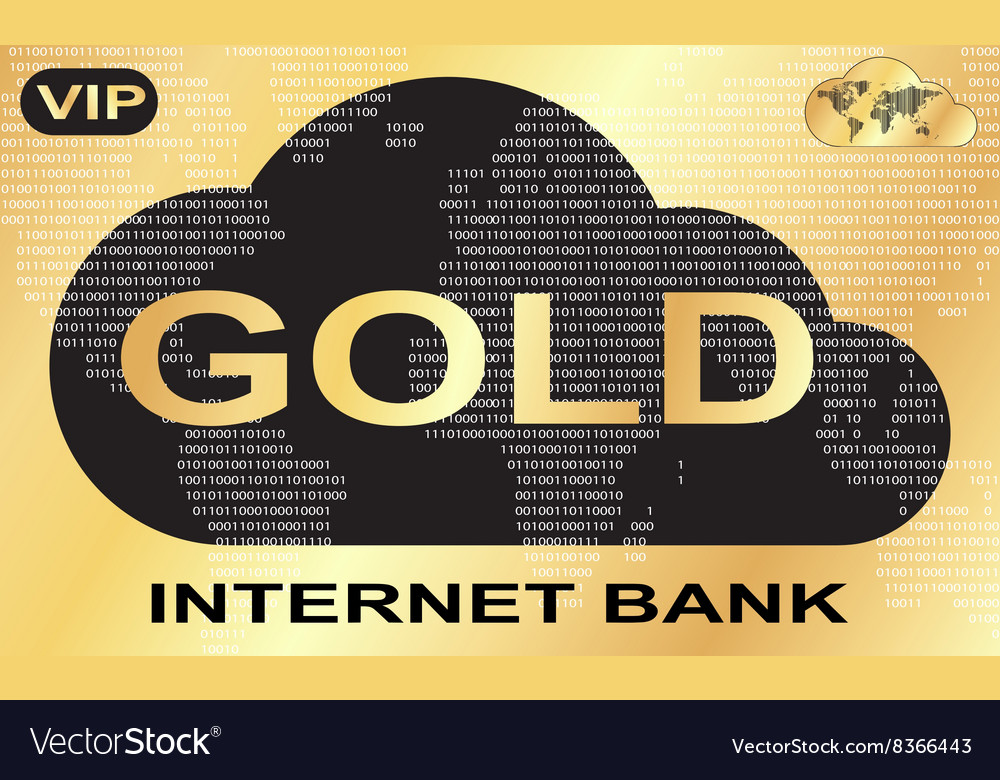Gold plastic card with a picture of Internet bank