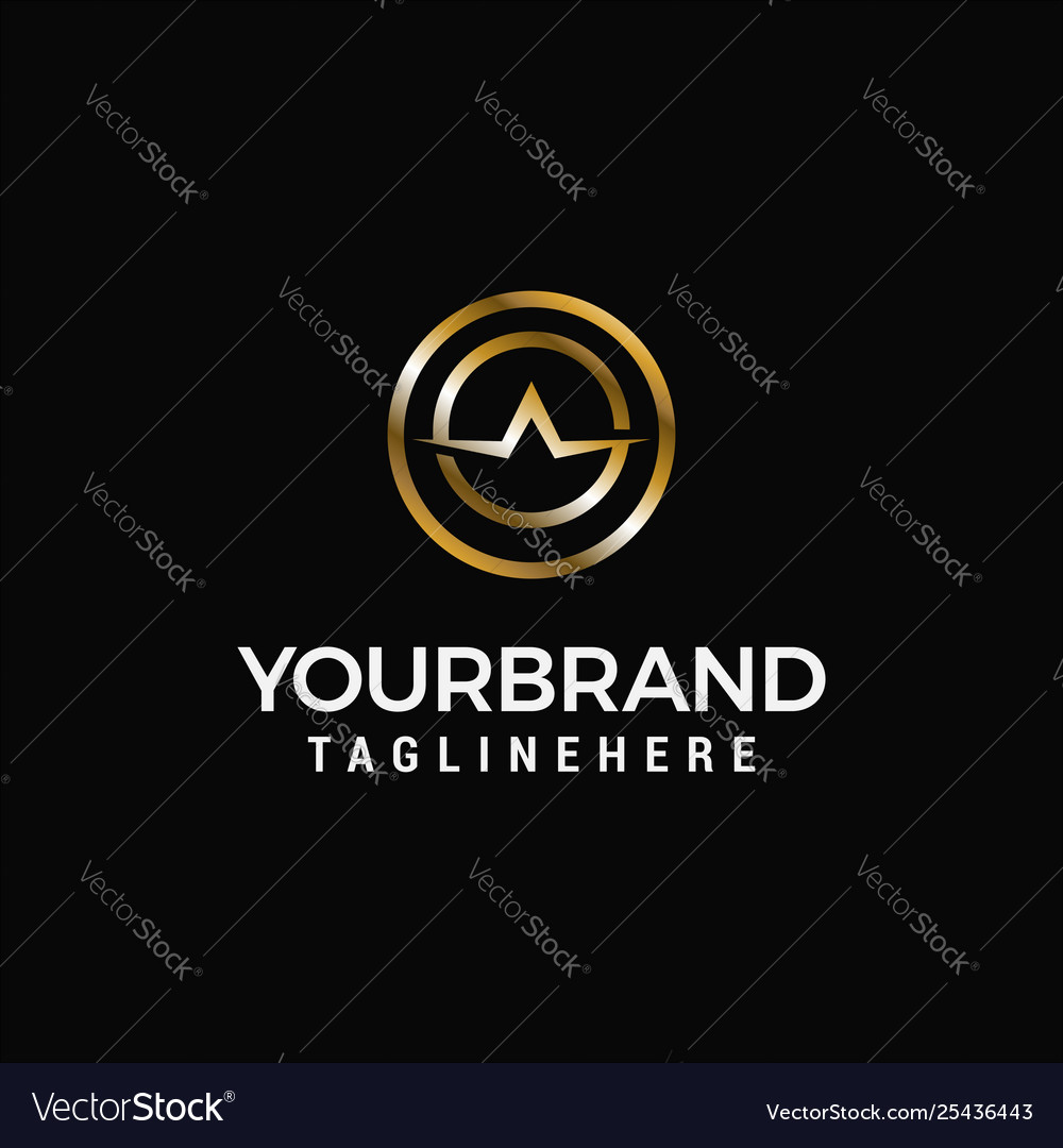 Letter a luxury gold logo design concept template