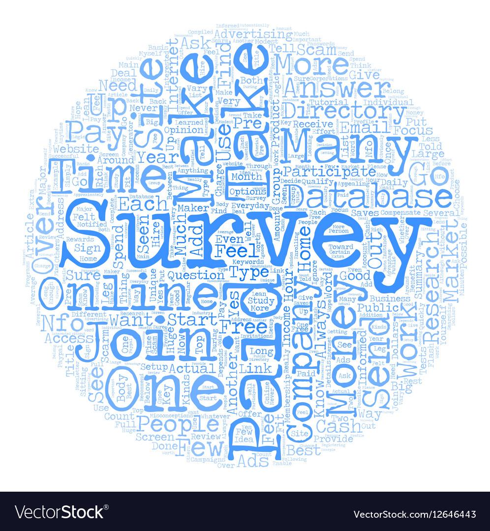 Online Paid Surveys Money Maker or Scam text vector image