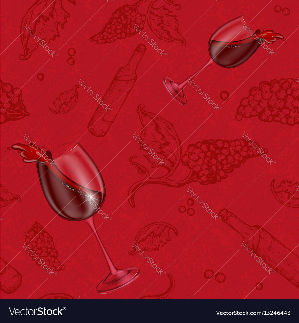 Seamless pattern drawing on a red