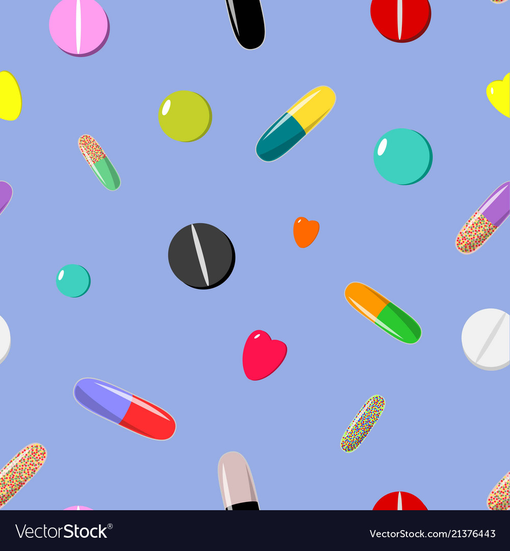 Seamless pattern of colorful pills