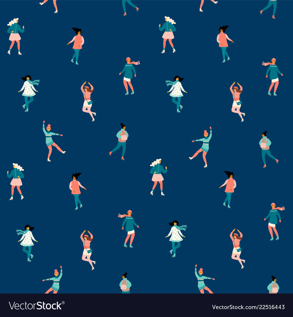 Seamless pattern with women skate trendy