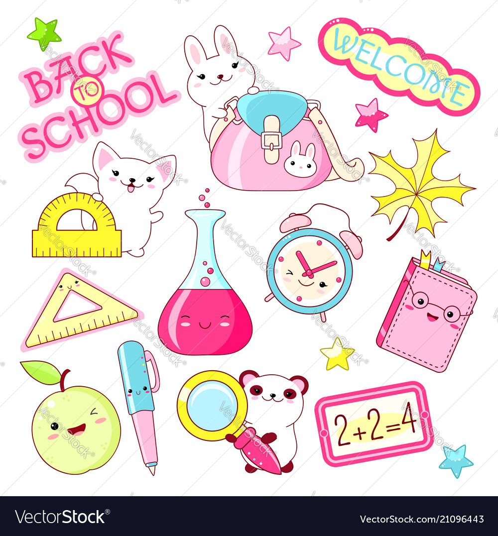 Set of education icons in kawaii style