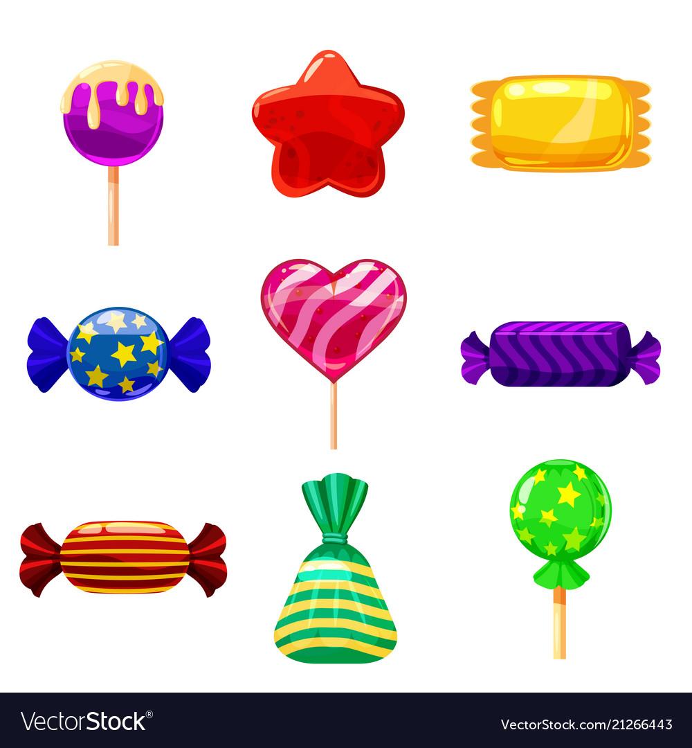 Set Single Cartoon Candies Lollipop Candy Vector Image