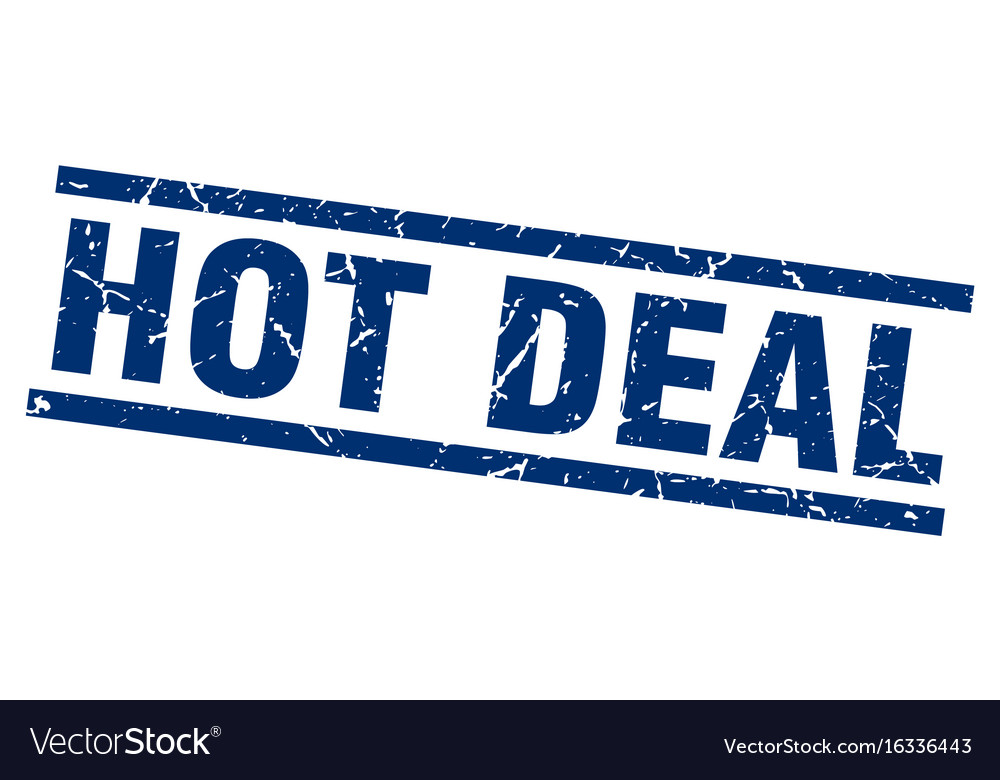 Square Grunge Blue Hot Deal Stamp Vector Image