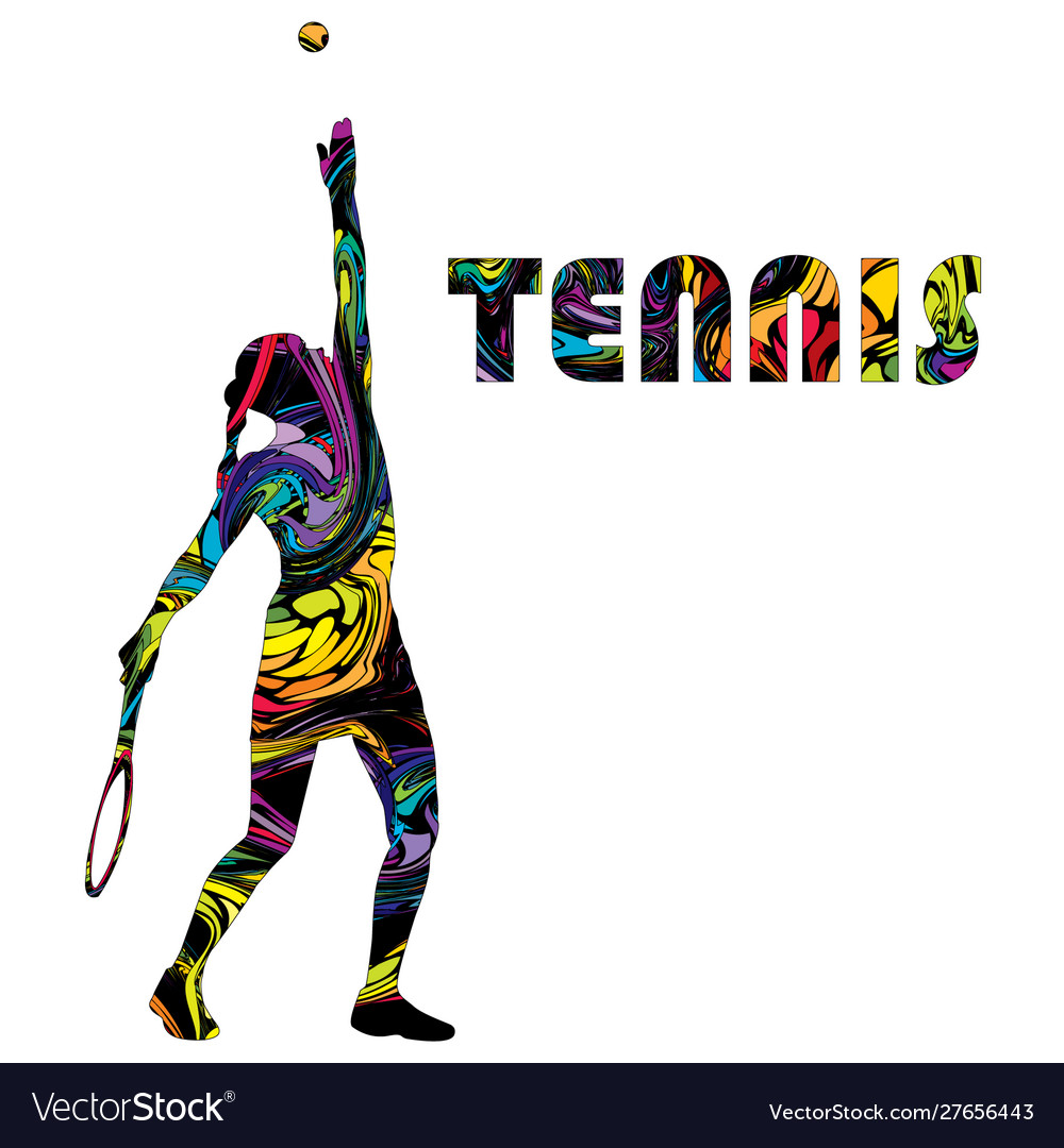 Tennis banner with colorful silhouette a woman