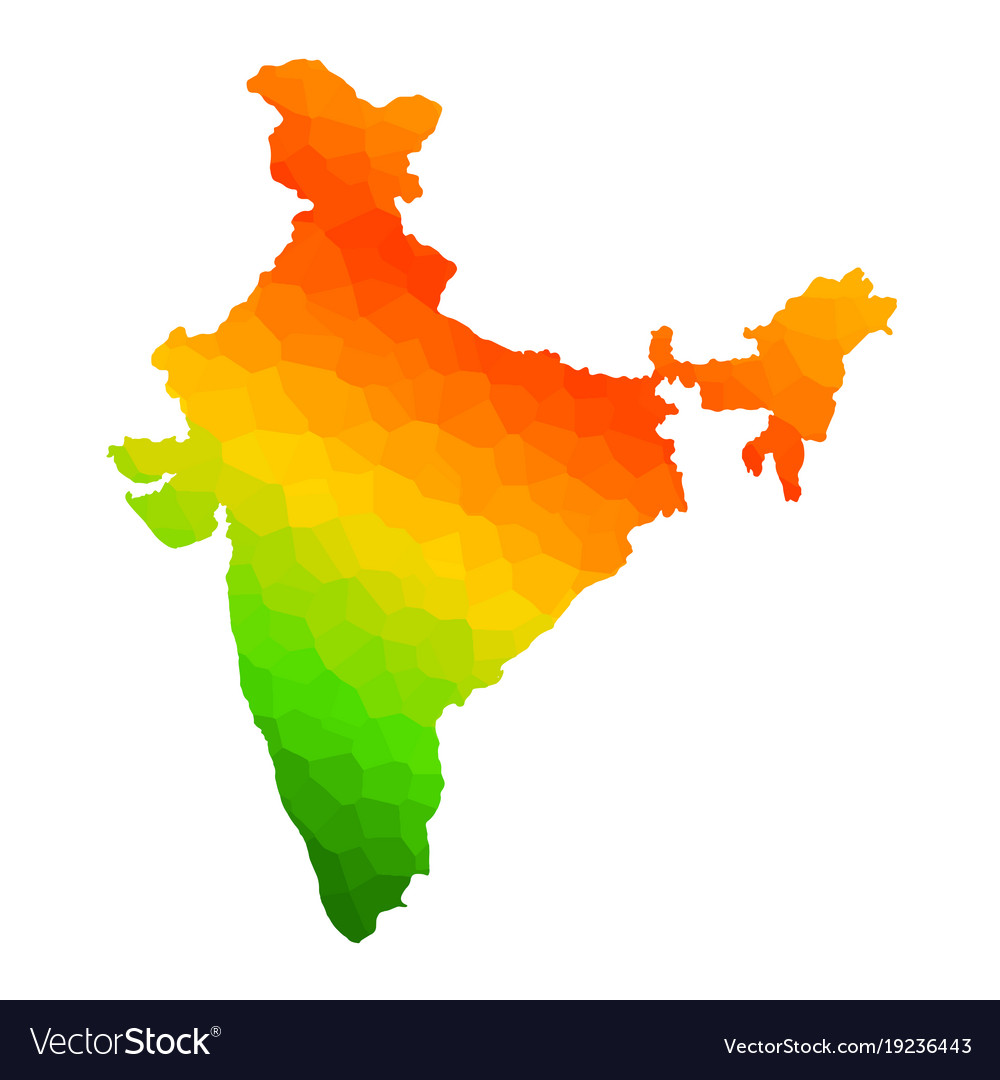 India Map Flag.Tricolor Indian Flag Map Background For Republic Vector Image