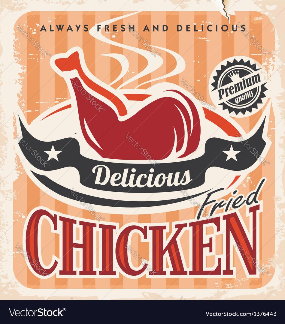 Vintage fried chicken poster design
