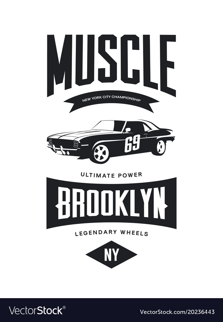 21d473e0f Vintage muscle car tee-shirt logo Royalty Free Vector Image