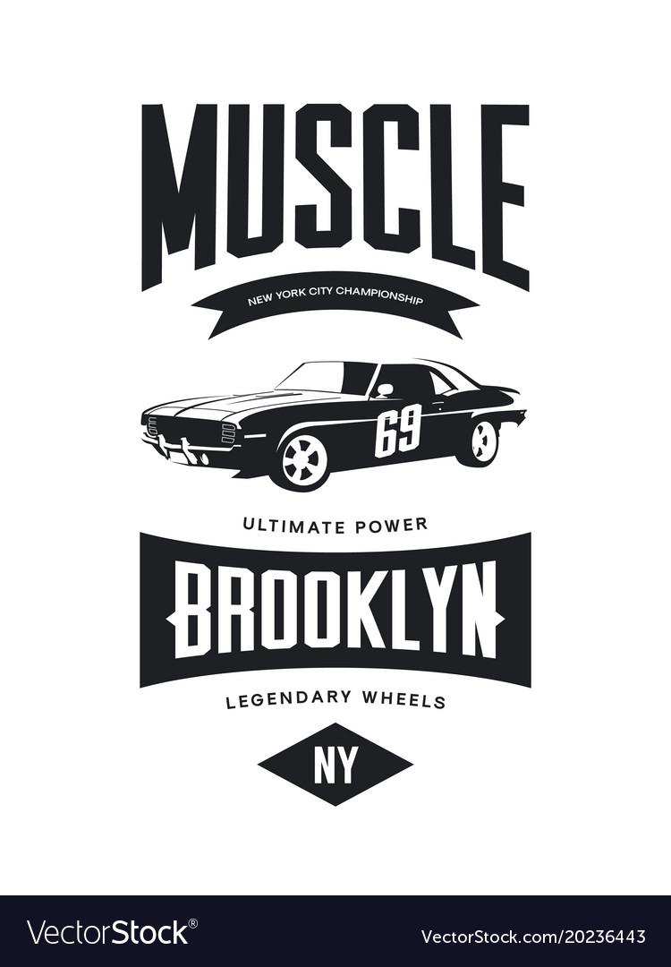 Vintage Muscle Car Tee Shirt Logo Royalty Free Vector Image