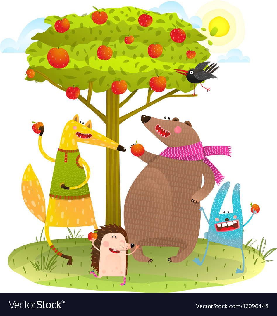 Baby animals friends and apple tree