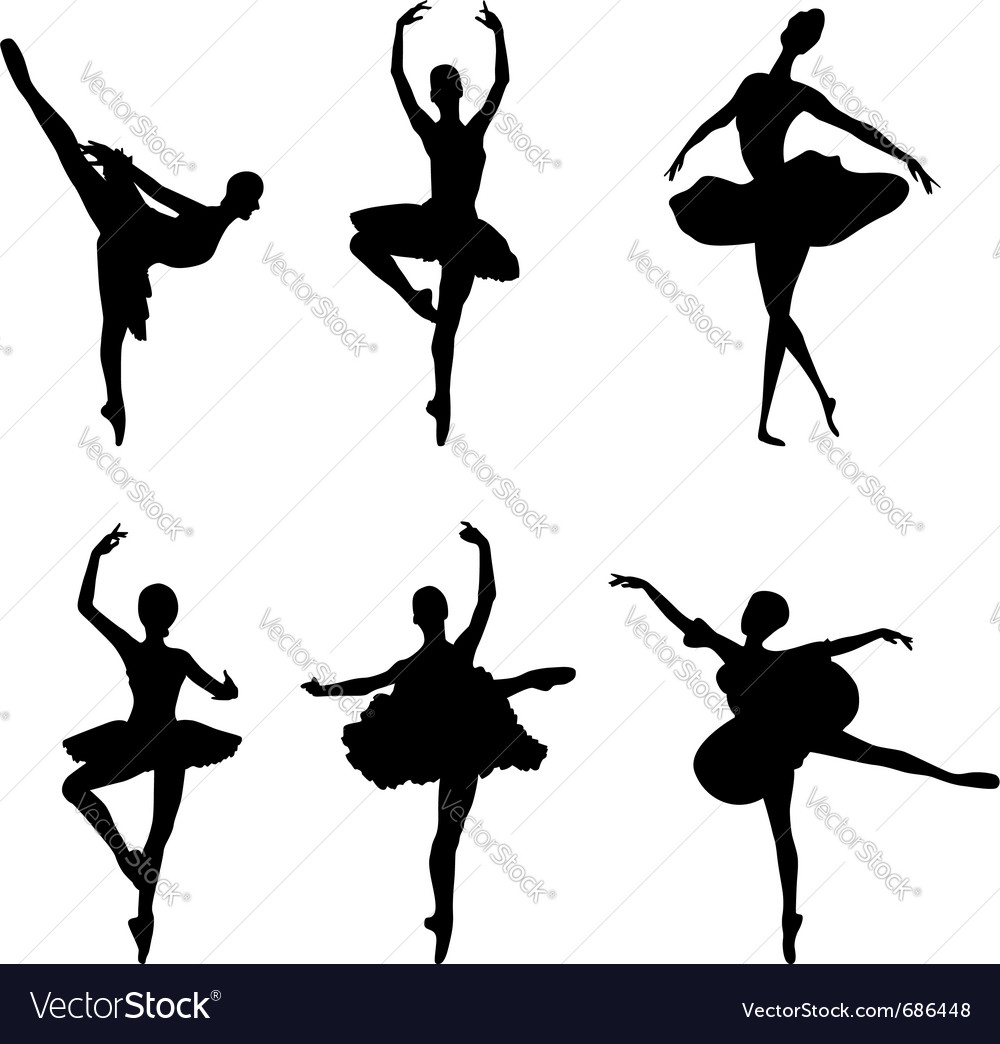 ballet dancer silhouettes royalty free vector image rh vectorstock com girl dance silhouette vector silhouette dancer vector