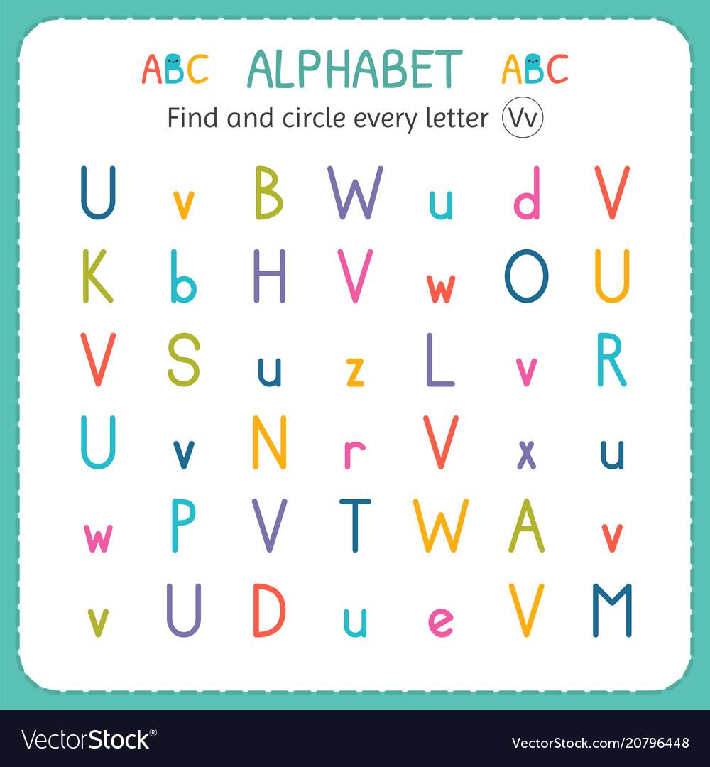 Worksheets Letter V Worksheet find and circle every letter v worksheet for vector image