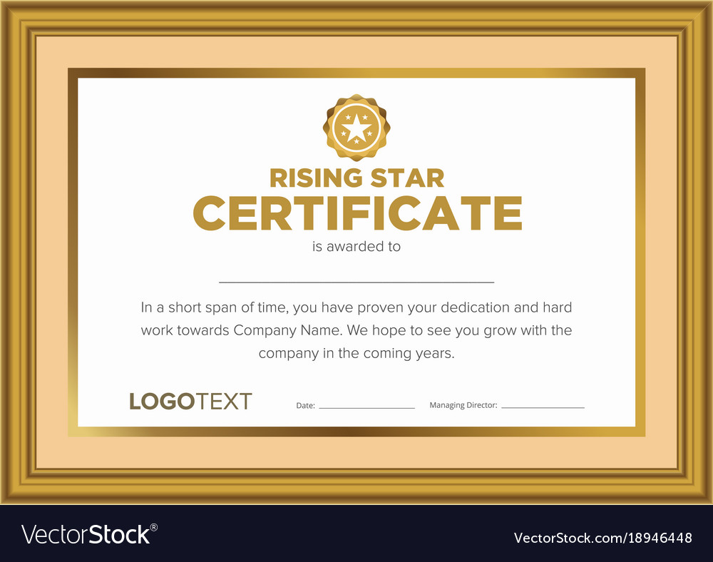 framed vintage rising star certificate royalty free vector