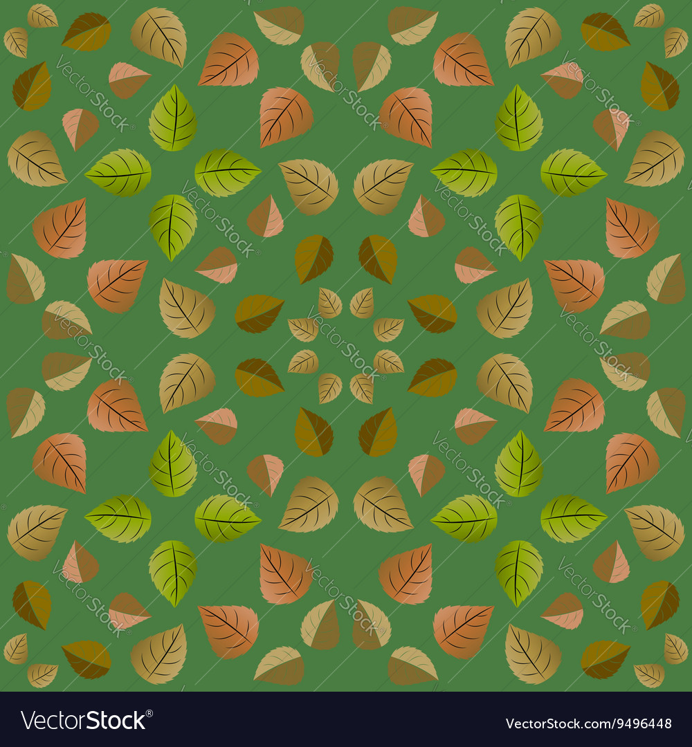 Geometric pattern with green and orange leaves