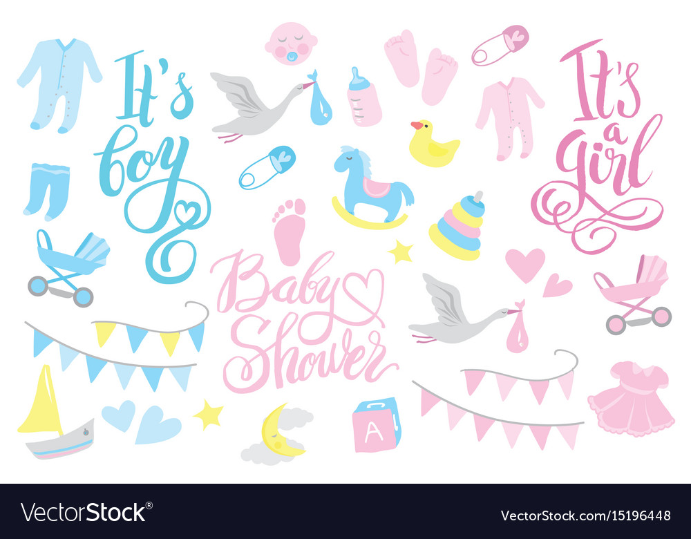 Girl and boy rattle shower invitation lettering