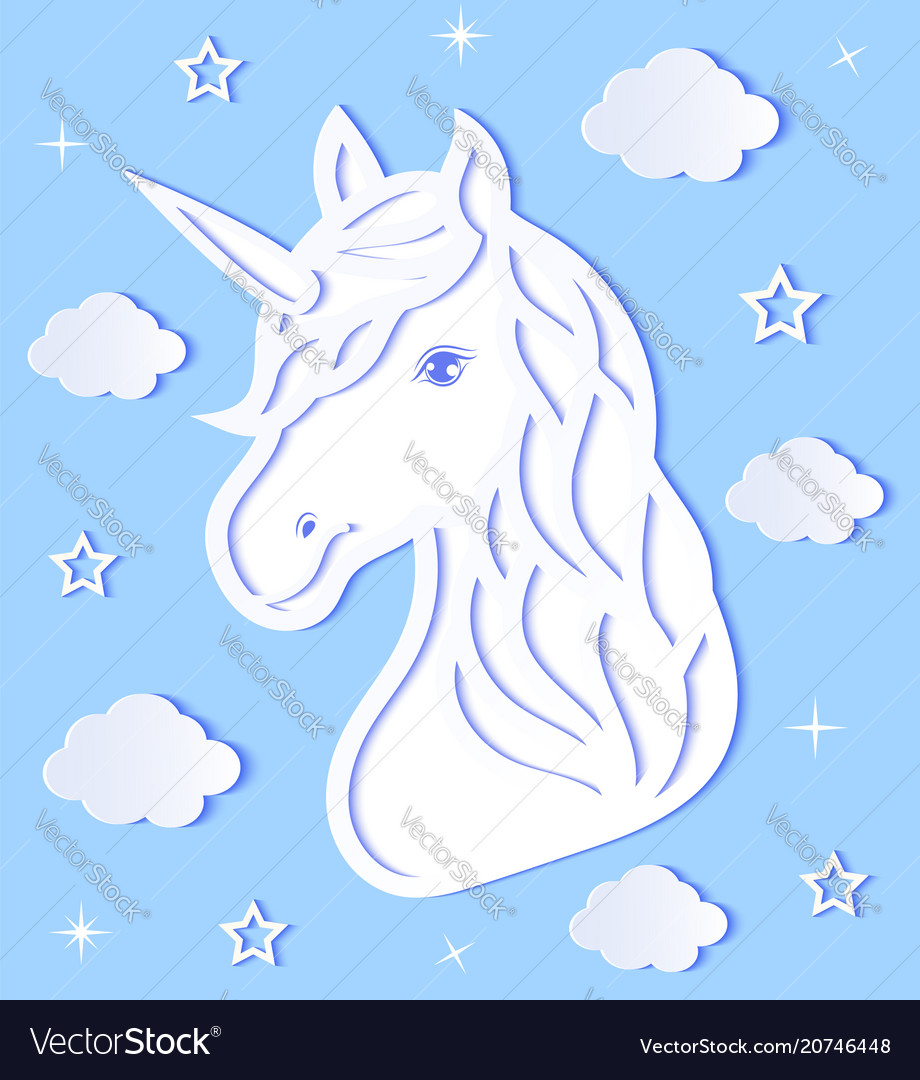 Head of paper unicorn vector image