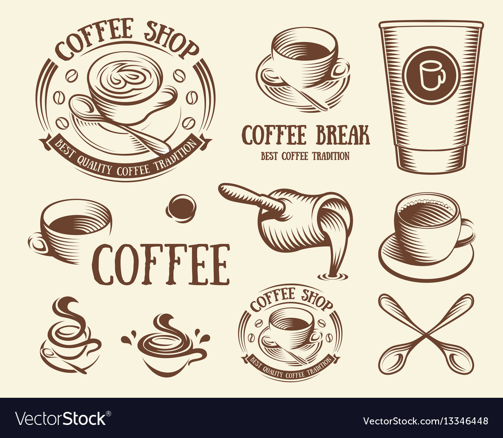 Isolated brown color cup in retro style logos set