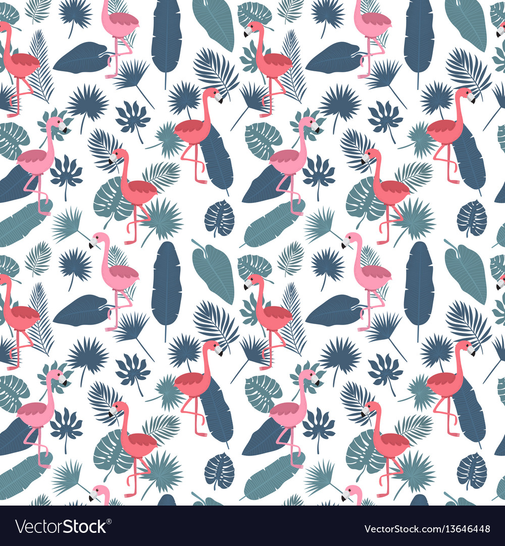 Tropical seamless pattern with pink flamingos and