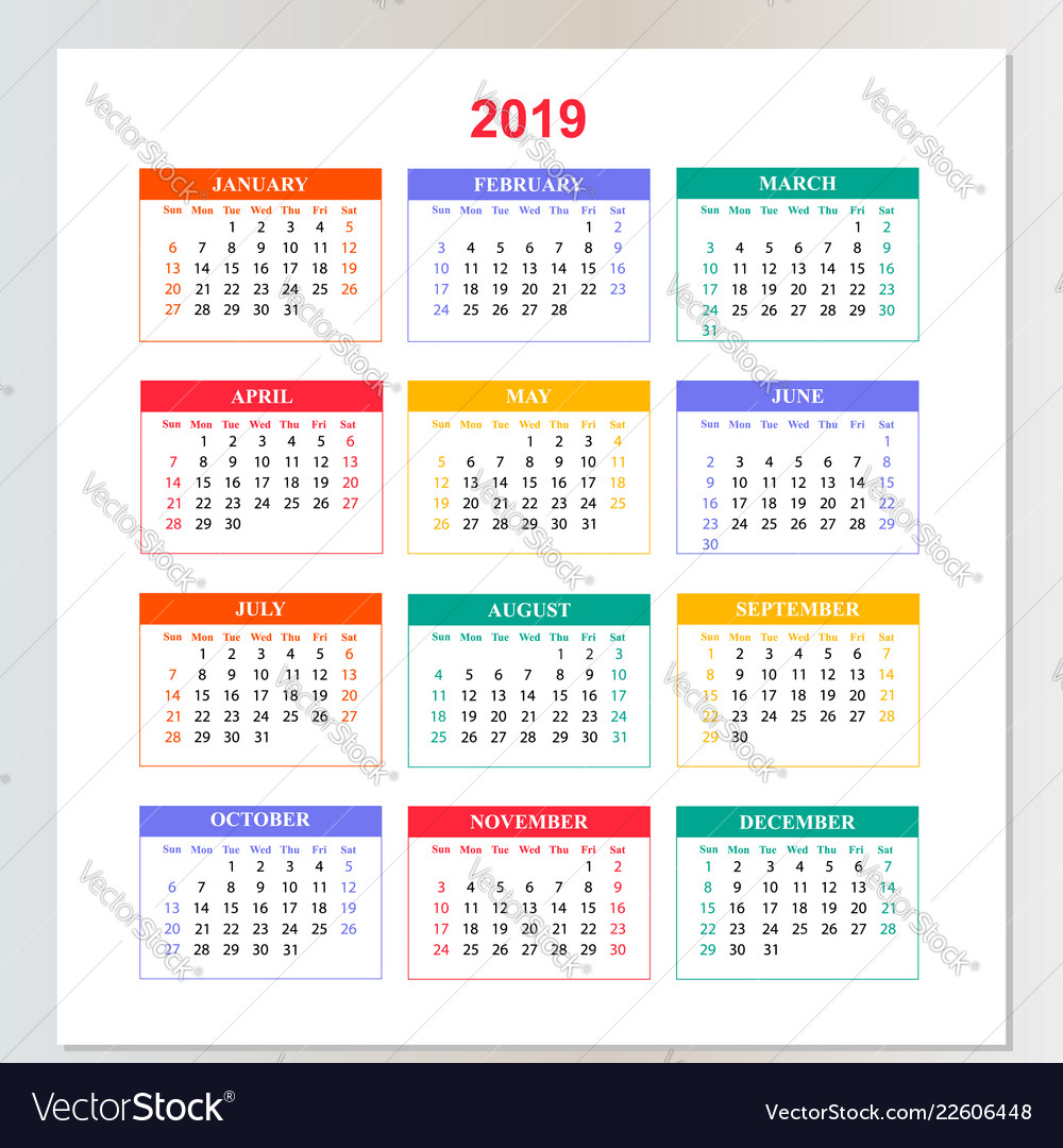 Wall calendar for 2019 year from sunday to