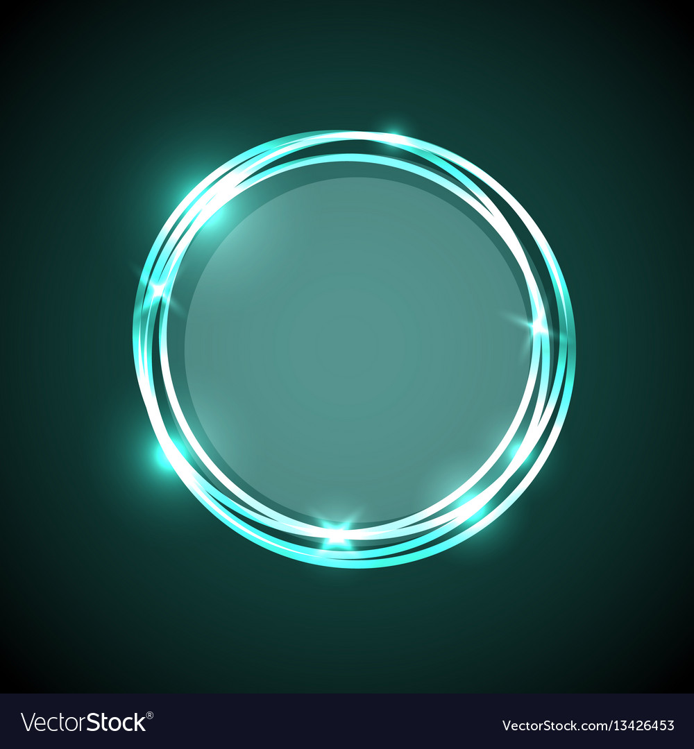 Abstract Background With Green Neon Circles Banner