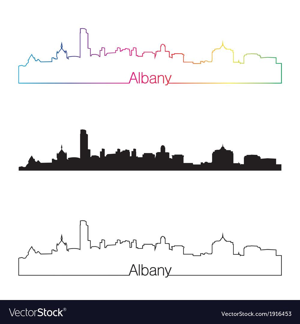 Albany skyline linear style with rainbow