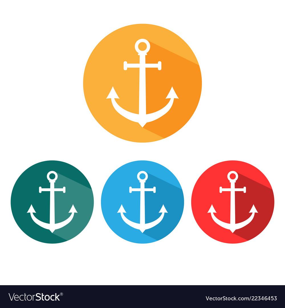 Anchor icon set flat design