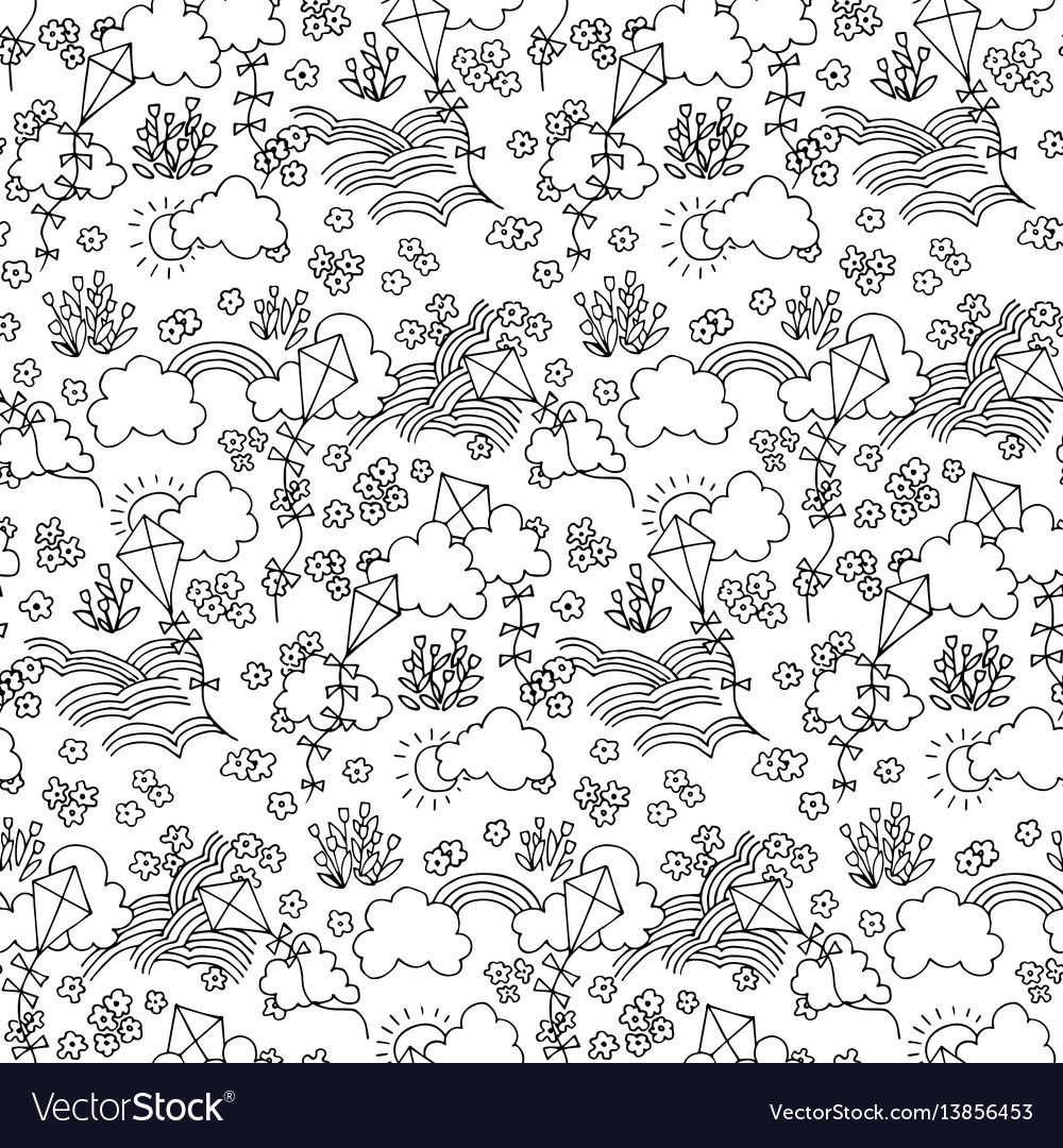 Black and white seamless pattern with