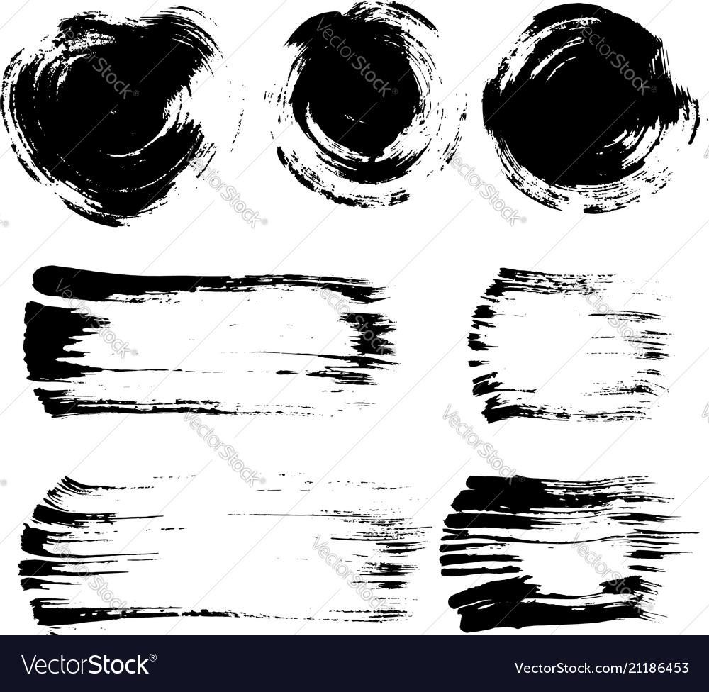 Brush stroke elements set
