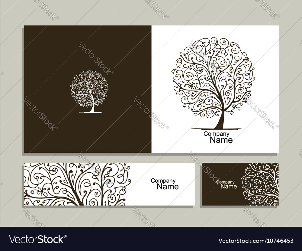 Business card collection abstract tree design
