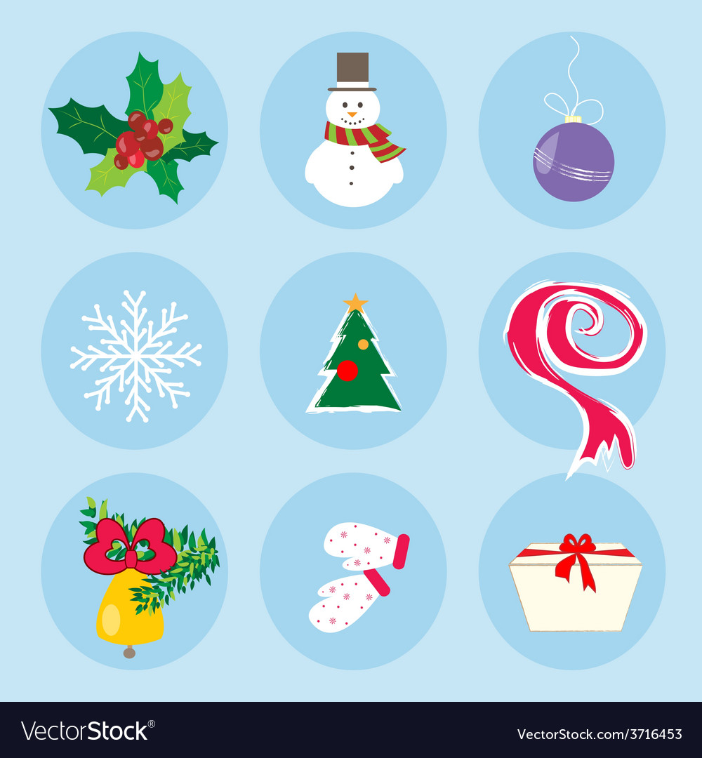 Christmas Winter Symbols Pattern Holiday Mood vector image