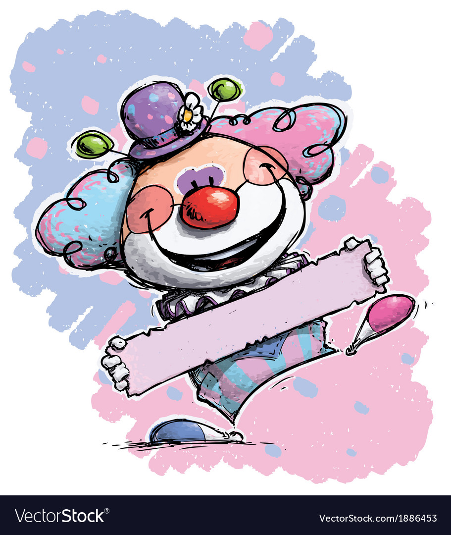 Clown Holding a Label Baby Colors