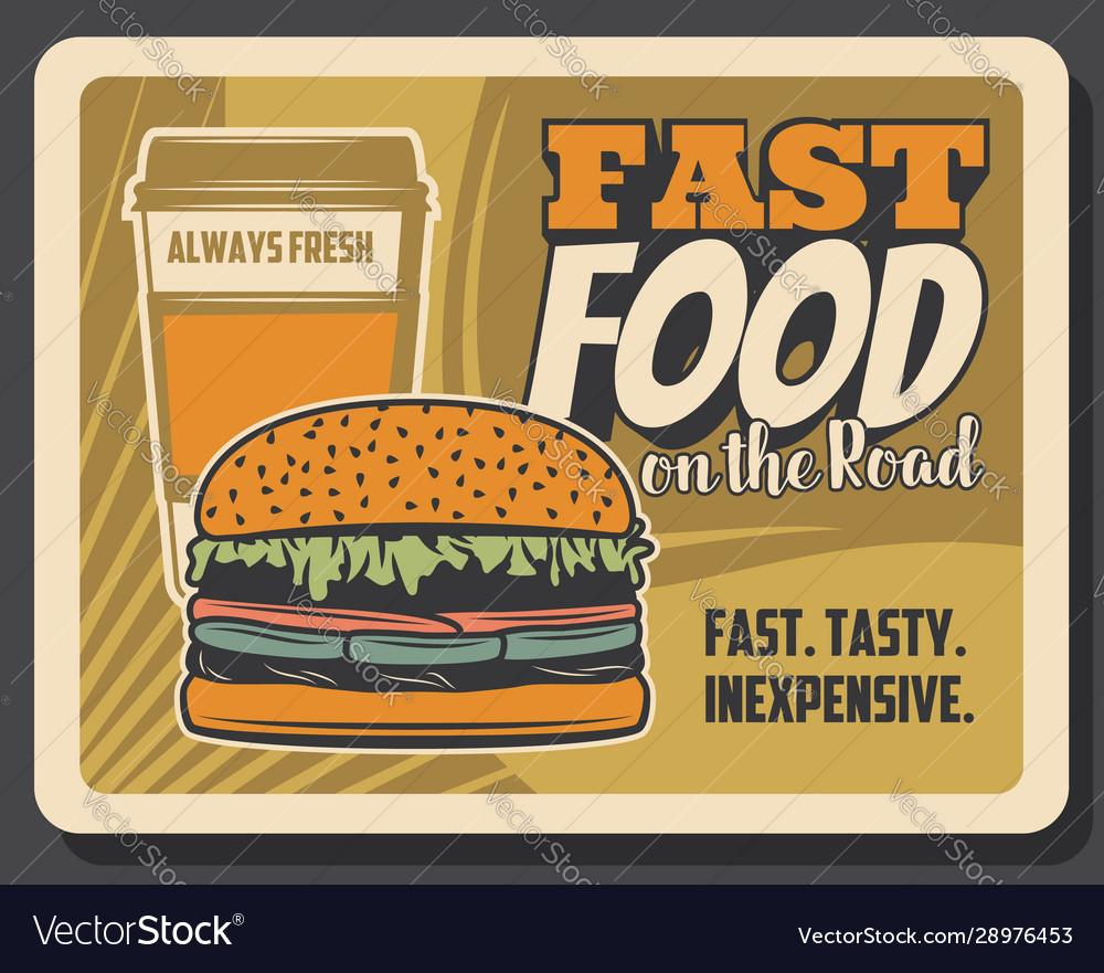 Fastfood on road bistro cheeseburger coffee