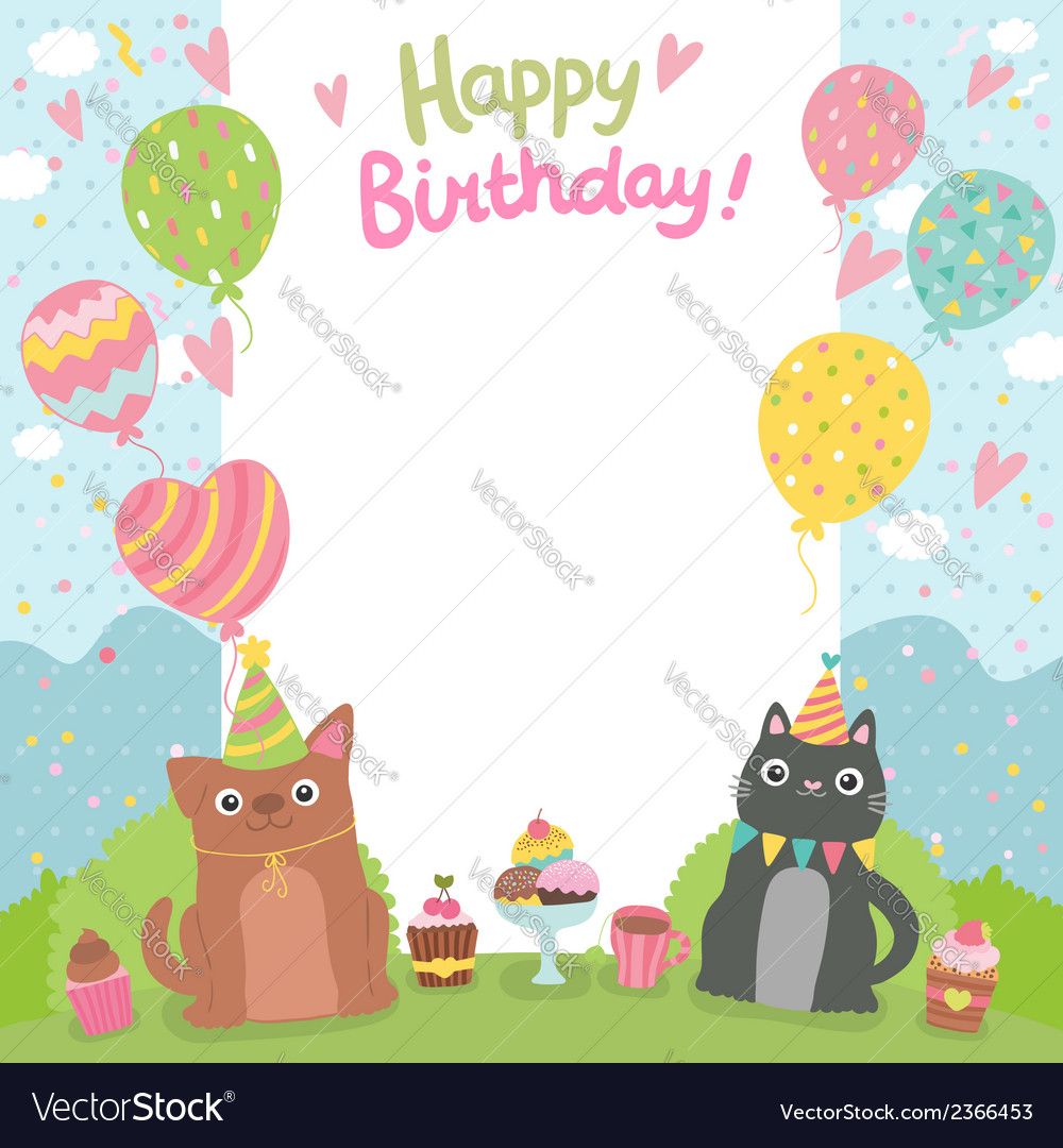 Happy Birthday Card Background With Dog And Cat Vector Image