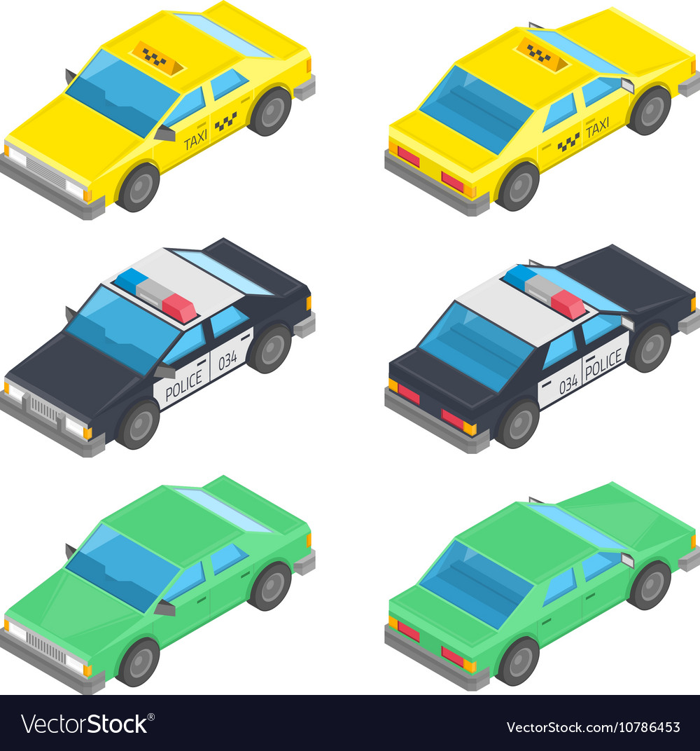 Isometric car taxi police