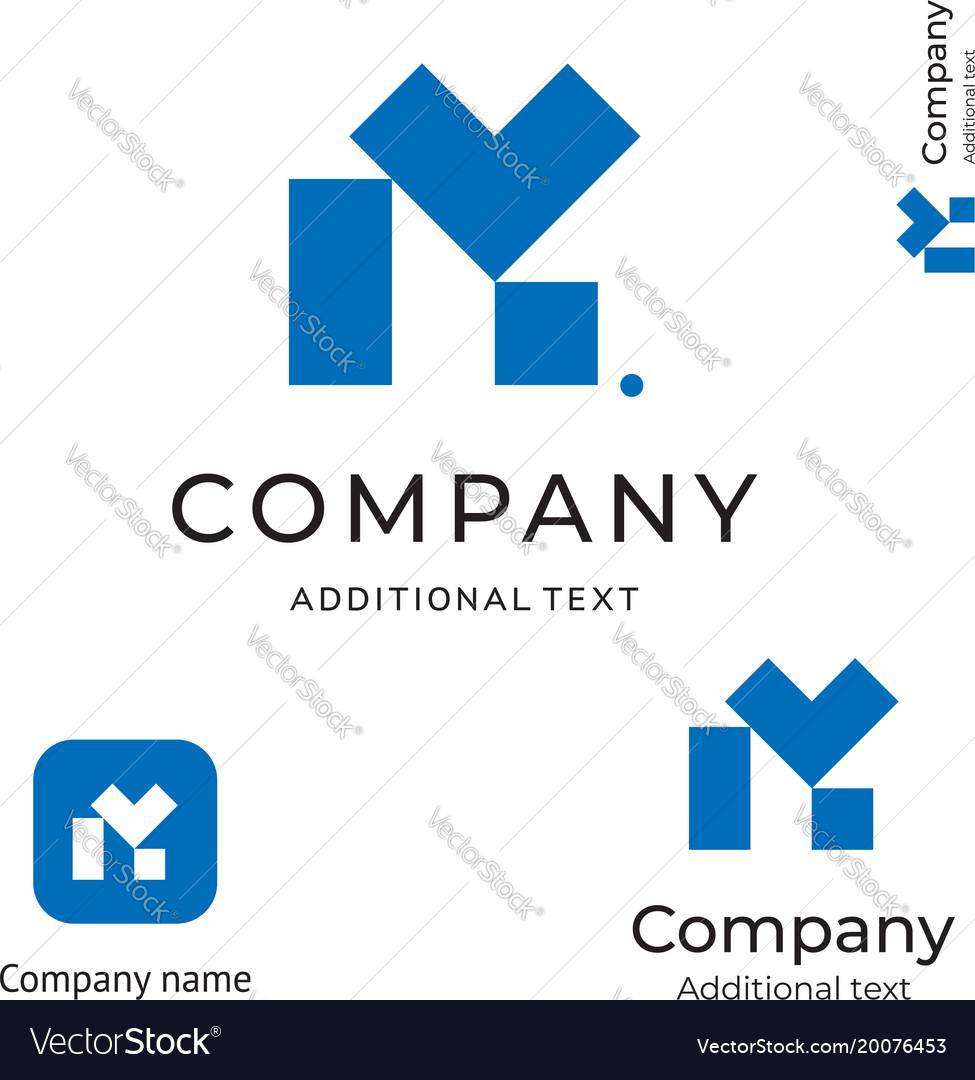 M letter technological construction logo modern